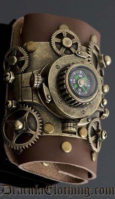 Steampunk compass cuff.