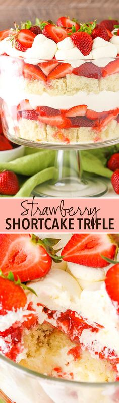 This Easy Strawberry Shortcake Trifle recipe is simple to make with layers of moist vanilla cake, fresh strawberries, strawberry sauce & whipped cream! Strawberry Shortcake Trifle, Shortcake Recipe, Strawberry Cake Recipes, Strawberry Puree, Cupcake Recipes, Easy Summer Desserts, Summer Dessert Recipes, Köstliche Desserts, Delicious Desserts