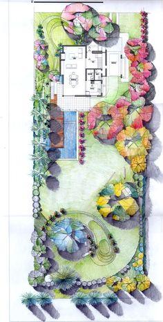 Landscape Design Plans, Landscape Sketch, Garden Design Plans, Landscape Drawings, Landscape Architecture, Architecture Design, Beach Entry Pool, Garden Spaces, Cartography