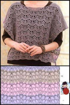 Crochet Clutch, Crochet Blouse, Crochet Poncho, Crochet Lace, Crochet Stitches, Crochet T Shirts, Crochet Clothes, Crochet Bedspread Pattern, Finger Crochet