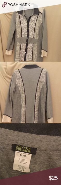 "Dolcezza gray tunic size L Long sleeves, mixed patterns in shades of gray and cream. 28"" from bottom of collar to hem. Cotton, acrylic, polyester. Hand wash, hang to dry. Dolcezza Tops Tunics"
