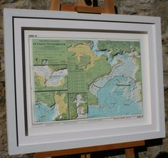 Hand cut 3D nautical relief model artwork of Plymouth Sound made from original Imray nautical charts