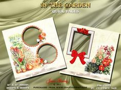 """In the Garden on Craftsuprint designed by June Young - Two pages with a garden theme. On page has two, flower trimmed, circular frames and the other has one oblong frame trimmed with poppies and a satin bow. These are 300dpi .png files 12"""" x 12"""". They can be reduced in size or used for cardmaking.  - Now available for download!"""