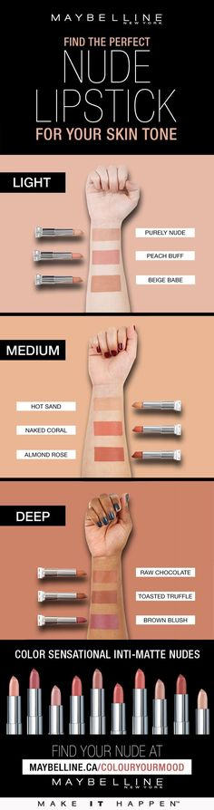 Finding the perfect nude lipstick for your skin tone with Maybelline Beauty Make-up, Beauty Skin, Beauty Hacks, Hair Beauty, Makeup Trends, Drugstore Makeup, Eye Makeup, Matte Makeup, Prom Makeup