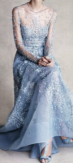 Pantone's 2016 Color Serenity in a gorgeous gown.