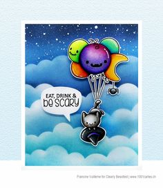 Stamps: Balloon Bunch Halloween Pomegranate Art, Cloud Stencil, Paper Crafts, Diy Crafts, Card Making Inspiration, Copics, Distress Ink, Halloween Cards, Hello Everyone
