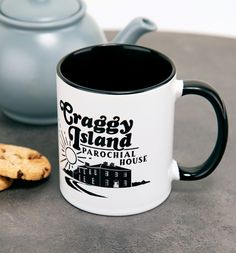 Father Ted Inspired Craggy Island Parochial House Black Handle Mug Father Ted, Porcelain Mugs, How To Make Tea, Little Boxes, Golden Girls, Black House, Favorite Tv Shows, Island, Tableware