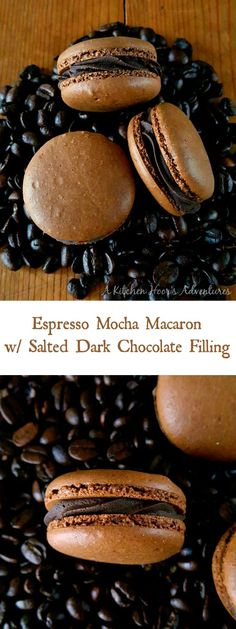 Get a coffee fix in these deliciously decadent macarons., Desserts, Get a coffee fix in these deliciously decadent macarons. Espresso Mocha Macaron with Salted Dark Chocolate Filling taste like a fancy cup of mocha esp. Mini Desserts, Just Desserts, Delicious Desserts, Plated Desserts, Fancy Chocolate Desserts, Healthy Desserts, Chocolate Smoothies, Chocolate Shakeology, Chocolate Protein