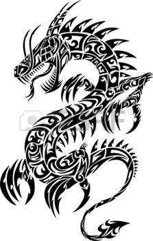 Iconic dragon tribal Illustration Vecteur de tatouage photo