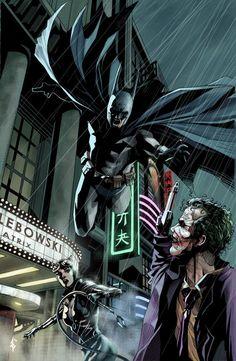 Batman, Catwoman and The Joker on a very rainy night in Gotham. Joker Batman, Joker Art, Batman Stuff, Batman Artwork, Batman Wallpaper, Superman Art, Arte Dc Comics, Batman Beyond, Batman Universe