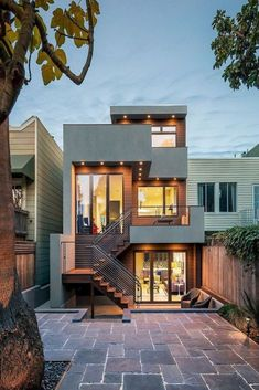 36 Popular Modern Dream House Exterior Design Ideas For Your House Planning ~ Ideas for House Renovations House Front Design, Small House Design, Modern House Design, Modern House Exteriors, Townhouse Designs, Modern Townhouse, Townhouse Exterior, Design Exterior, Interior Design