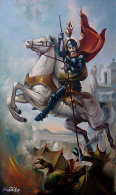 Byzantine Icons, Byzantine Art, Religious Icons, Religious Art, Saint George And The Dragon, Christian Paintings, Pictures Of Jesus Christ, Archangel Michael, Catholic Saints