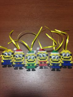 PERLER BEADS Minion Christmas Ornaments!!! Minion Christmas, Christmas Crafts, Christmas Ornaments, Bead Crafts, Diy And Crafts, Crafts For Kids, Hama Beads Patterns, Beading Patterns, Iron Beads