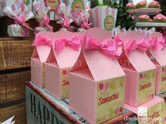 Cajitas mesa de dulces Baby Shower.