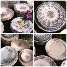 mis-matched china, vintage dishes, vintage wedding rentals, vintage rentals