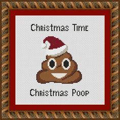 Christmas Poop Emoji Funny Cross Stitch PDF Pattern