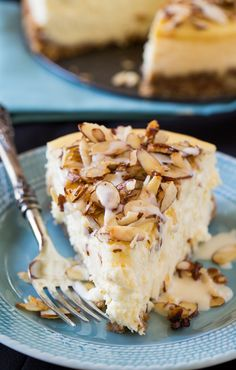 Amaretto Cheesecake with Sugared Almonds might be decadent, but it is so worth the calories! The sugared almonds on top just make this dessert. #ThinkFISHER #almonds #yum