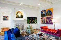 Pop Art Style Interior Design Glass Table and Andy Warhol prints