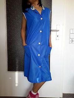 Nass Glänzende Dederon Nylon Kittel Schürze Apron Smock Blau mit Kragen 11