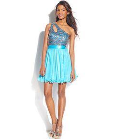 Morgan Juniors Dress, Spaghetti-Strap Geometric-Print High-Low ...