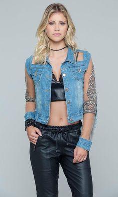 Jaqueta Jeans Tule Bordada - Agatha e-Store - Ágatha e-Store