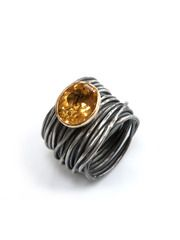 Oxidized Silver Spaghetti Ring, 18ct Gold Set Citrine from Disa Allsopp Jewellery on Taigan