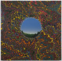 """thunderstruck9: """"Fred Tomaselli (American, b. 1956), Double Landscape (Large), 1995. Saccharin, acrylic, resin, wood panel, 48 × 48 in. """""""
