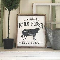 "Custom Wood Sign - Farm Fresh Dairy Name - 18""x21"" Framed Wood Sign"