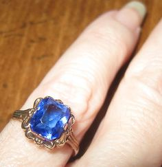 Antique sapphire and 10K rose gold ring on #ebay
