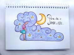 Luna amante! Nuvem, lua, céu e amor