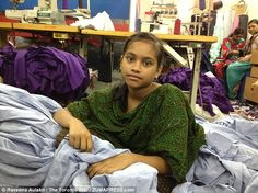 Child labor: Taaniya, 13, was one of the youngsters working 12-hour days at the factory