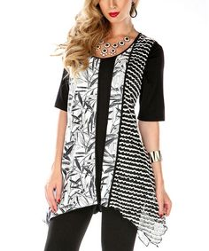 Love this Black & White Leaves Sidetail Top on #zulily! #zulilyfinds