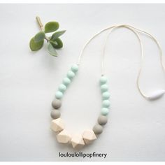 Mint Greige Silicone Beaded Teething Necklace by LouLouLollipopFinery