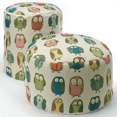 Give A Hoot Pouf - owl pouf Pinned by www.myowlbarn.com
