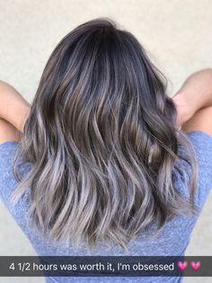 Gray Lace Frontal Wigs hair color sticks for gray hair – wigsshort Hair Color Balayage, Ombre Hair, Bayalage, Ash Gray Balayage, White Blonde Hair, Gray Hair, Black Hair, Brown Hair, Silky Hair