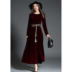 kekafu Women's Casual/Daily Robe Swing simple,Maxi col rond manches longues Automne Hiver Polyester Micro-moyenne hauteur épaisseur…
