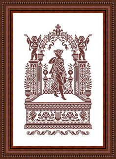 Greek young woman portico - pattern for cross stitch