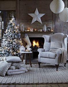 Pinos de navidad 2015 - 2016 Winter Living Room, Christmas Living Rooms, Christmas Home, Nordic Christmas, White Christmas, Christmas Trees, Merry Christmas, Christmas Balls, Magical Christmas