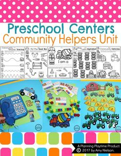 Community Helpers Unit - Centers and Worksheets This adorable set includes pretend play, interactive centers and 15 black and white printable worksheets for a Community Helpers preschool or kindergarten unit. The centers work on Letter Recognition, Number Kindergarten Units, Preschool Centers, Preschool Themes, Preschool Alphabet, Community Helpers Preschool, Fun Math Games, Math For Kids, The Unit, Pretend Play