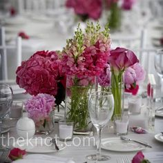 love the textures of these flowers, the shades of pink, the different types and heights and the glass square-ish vases