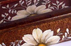 Pintura sobre madera: caja de te./Painting on wood: box of tea.