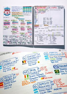 Beautiful notes prepared for each soccer match that Nick Barnes, BBC Radio Newcastle, is a commentator for.
