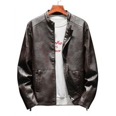 1f7575697d3 Stand Collar Zip Up Casual Faux Leather Jacket #Fashion #Mens #Men  #Cappuccino
