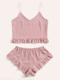 Pajama Outfits, Chill Outfits, Cute Comfy Outfits, Cute Sleepwear, Lingerie Sleepwear, Polka Dot Shorts, Polka Dots, Romwe, Ropa Interior Babydoll