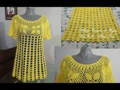 YouTube Crochet Beach Dress, Crochet Summer Dresses, Crochet Summer Tops, Crochet Blouse, Knit Crochet, Crochet Poncho Patterns, Crochet Stitches, Crochet Videos, Crochet Fashion