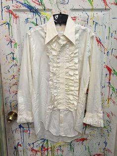 Mens tux ruffled vintage button down long sleeve shirt Medium 15 off white with ruffles RagsAGoGo Mens Tux, Tux Shirt, Button Downs, Off White, Ruffles, Long Sleeve Shirts, Medium, Trending Outfits, Coat