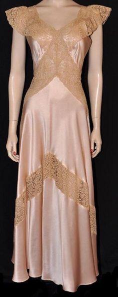 Stunning Chevron Fischer Silk Satin Nightgown Sz- 34 (#895) (SOLD)