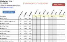 13 best restaurant spreadsheets images on pinterest operations