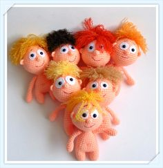 Seven brothers.      YOU NEED:    pink yarn for head,body,legs and hands  crochet hook  piece of white felt for eyes  black safety eyes o...