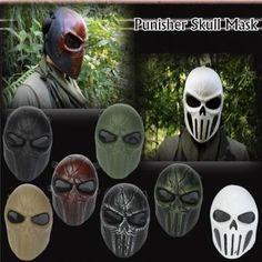 Punisher Skull Full Face Mask Eye Mesh for Hunting War Game Paintball Sale-Banggood.com